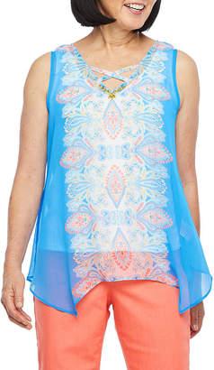 HEARTS OF PALM Hearts Of Palm Azure Thing Womens V Neck Sleeveless Embellished Blouse