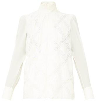 Chloé Puffed-sleeve Silk-georgette Blouse - White