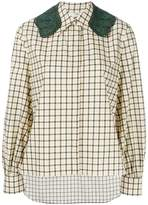 Fendi checkered shirt with crochet lace collar