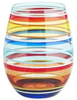 Pier 1 Imports Festive Stripes Painted Stemless Wine Glass