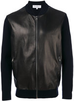Salvatore Ferragamo leather and wool bomber jacker
