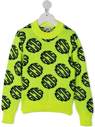 Gcds Kids Intarsia Knit Neon Jumper
