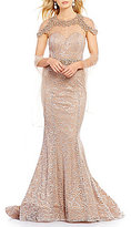 Terani Couture Beaded Metallic Lace Mermaid Gown