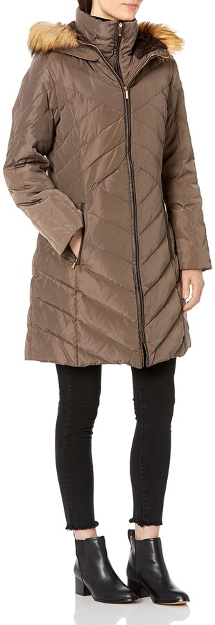 Thumbnail for your product : Jones New York Women's Chevron Down Coat with Faux Fur Trim Hood - Update To LY