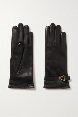 Bottega Veneta Embellished Leather Gloves - Black