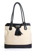 Dana Buchman Beige Black Canvas Tote Shoulder Handbag