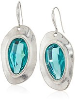 "Robert Lee Morris Cool As Ice"" Semiprecious Stone Leather Toggle Drop Earrings"
