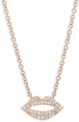 Saks Fifth Avenue Diamond and 14K Rose Gold Lips Pendant Necklace