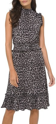 MICHAEL Michael Kors Leopard-Print Smocked Dress