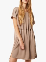 French Connection Tamina Drawstring Waist Dress, Mocha Mousse
