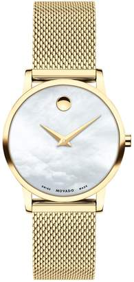 Movado Museum Mother-of-Pearl Dial Goldtone Mesh Bracelet Watch
