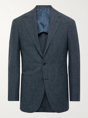 Beams Slim-Fit Unstructured Prince Of Wales Checked Wool, Cotton And Linen-Blend Blazer
