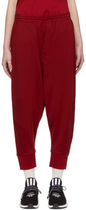 Y-3 Red 3-Stripe Track Pants