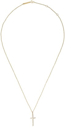Zoë Chicco 14kt Yellow Gold Bezel Set Diamond Cross Necklace