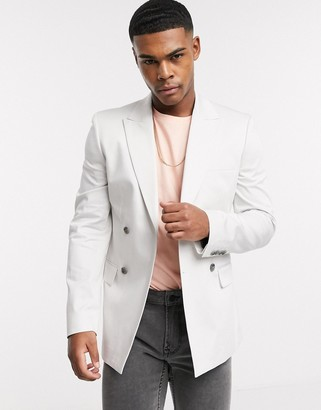 ASOS DESIGN skinny double breasted blazer in ice grey cotton