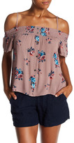 Lily White Floral Print Cold Shoulder Tee