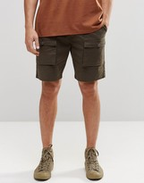 Asos Slim Cargo Shorts In Mid Length In Khaki