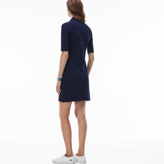 Lacoste Women's Polo dress in stretch mini pique cotton with three quarter sleeves