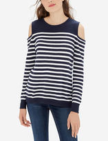 The Limited Striped Cold Shoulder Sweater