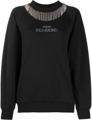 John Richmond Embellished Logo Crew Neck Sweatshirt