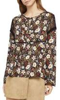 BCBGeneration Far East Floral Lace-Insert Top