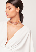 Missguided Layered Multi Chain Choker Necklace Rose Gold