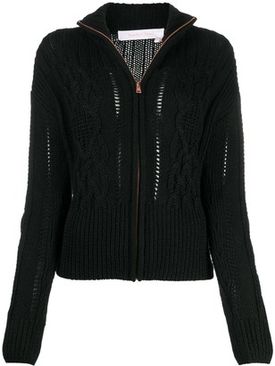 See by Chloe High-Neck Cable Knit Cardigan