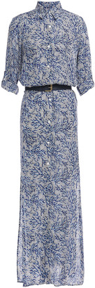 MICHAEL Michael Kors Belted Printed Silk Maxi Shirt Dress
