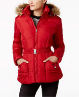 Rampage Juniors' Faux-Fur-Trim Belted Puffer Coat, Created for Macy's