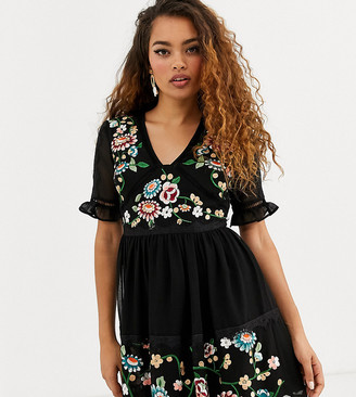 ASOS DESIGN Petite embroidered mini dress with lace trims in black
