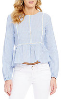 Copper Key Long-Sleeve Pin Stripe Lace-Inset Ruffled Shirting Top