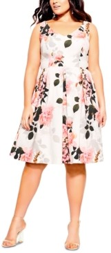 City Chic Trendy Plus Size Soft Blossom Printed Dress