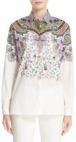 Etro Floral & Paisley Print Stretch Cotton Shirt