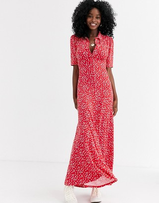 ASOS DESIGN short sleeve shirt maxi dress in red ditsy print