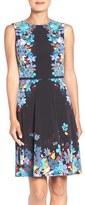 London Times Women's Placed Floral Print Fit & Flare Dress