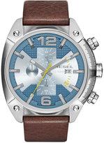 Diesel Men's Chronograph Overflow Dark Brown Leather Strap Watch 49mm DZ4340