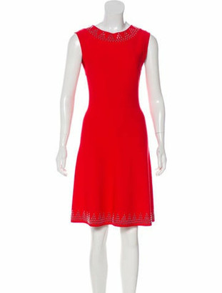 Alaia Fit & Flare Embellished Dress w/ Tags Red