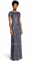 Adrianna Papell Scoop Back Sequin Embellished Evening Dress