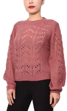 Derek Heart Juniors' Pointelle-Knit Sweater