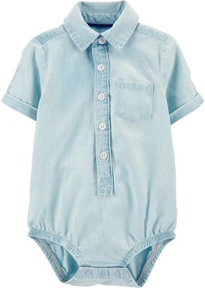 Osh Kosh Baby Boy Chambray Button-Front Bodysuit