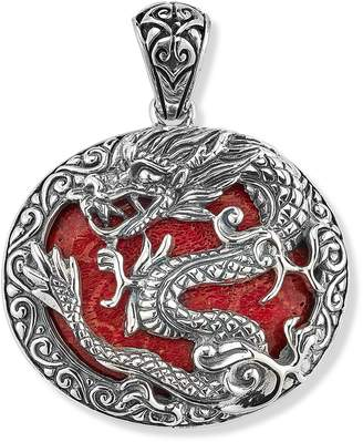 Samuel B. Sterling Silver Dragon Pendant with Coral