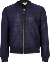River Island Girls Navy knitted bomber jacket