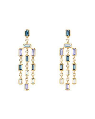 David Yurman Novella 18k Statement Dangle Earrings in Blue Topaz & Tanzanite