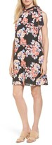 CeCe Women's Floral Tie Neck Shift Dress