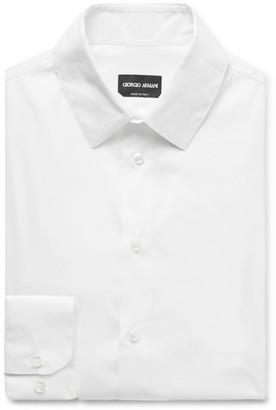Giorgio Armani White Slim-Fit Stretch Cotton-Blend Shirt - Men - White