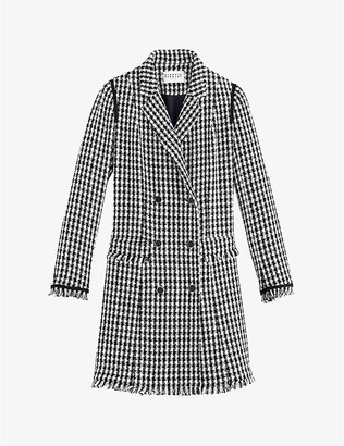 Claudie Pierlot Double-breasted cotton-blend houndstooth mini dress