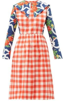 Batsheva Gingham And Floral-print Cotton Dress - Womens - Multi