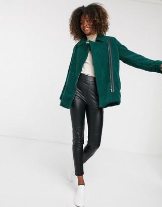 Vila teddy biker jacket-Green
