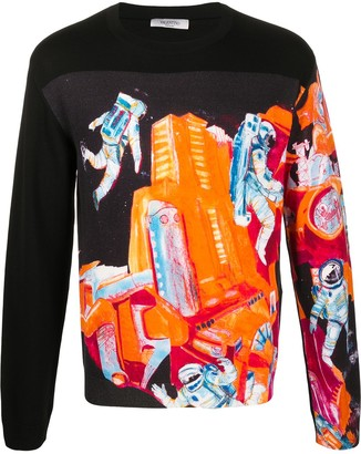 Valentino Spaceland crew-neck jumper