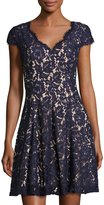 Eliza J Cap-Sleeve Fit-and-Flare Lace Dress, Navy